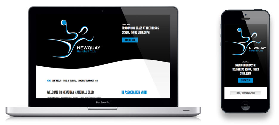 Responsive navigation on Newquay Handball Club website by Geoff Muskett