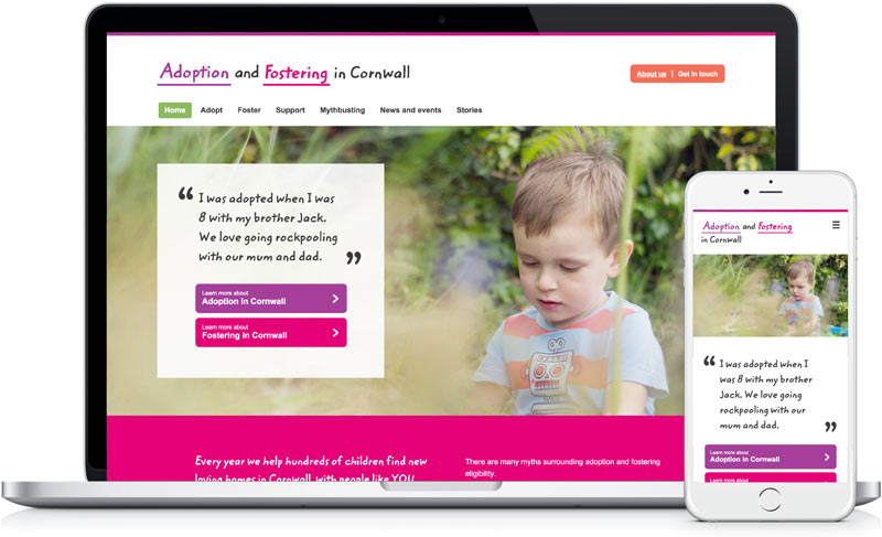 Adoption for Cornwall website design in laptop by freelance designer Geoff Muskett