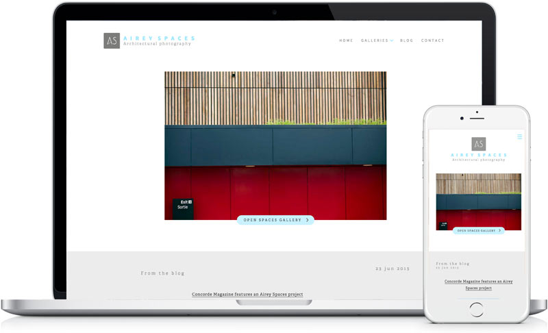 Airey Spaces website design and development by freelance designer Geoff Muskett