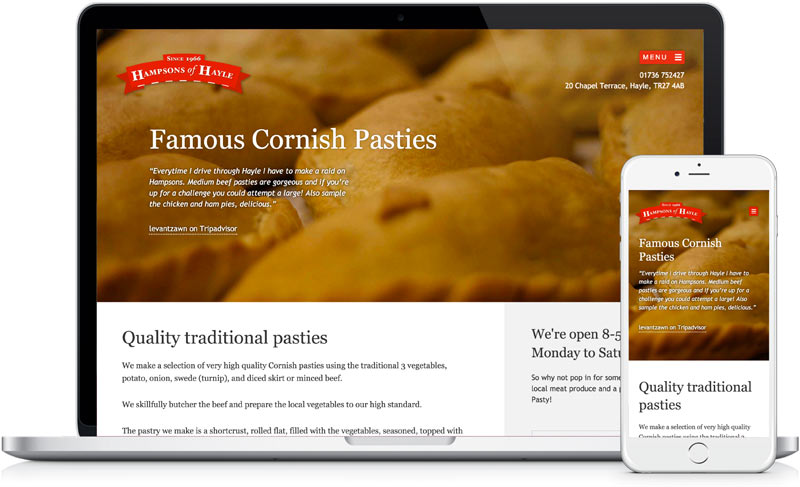 Hampsons of Hayle website design and development by freelance designer Geoff Muskett
