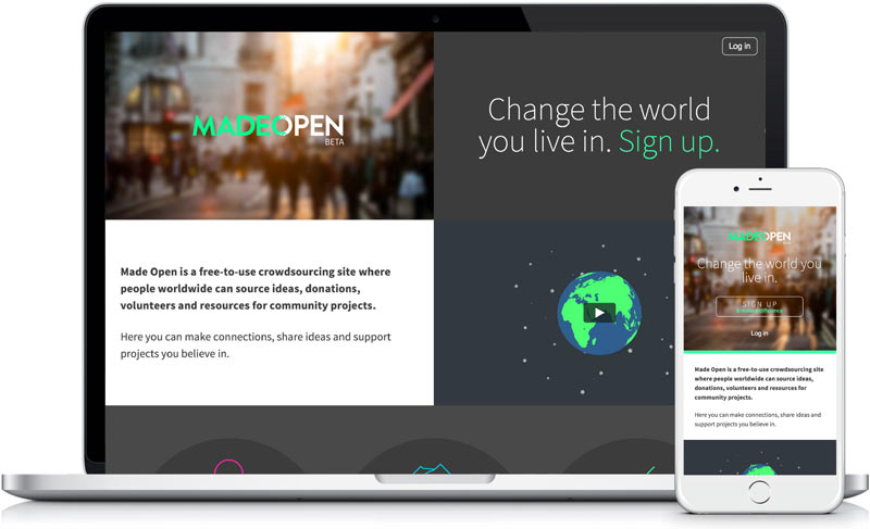 Made Open Community design and web development by freelance designer Geoff Muskett
