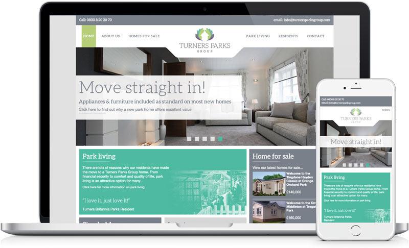 Turners parks website images, front end web development by freelance designer Geoff Muskett