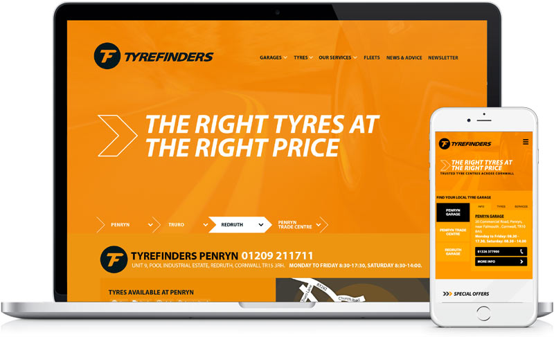 TyreFinders website design and development screen grabs in laptop by freelance designer Geoff Muskett