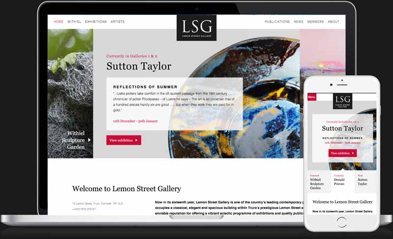 Lemon Street Gallery website screen grabs by Geoff Muskett