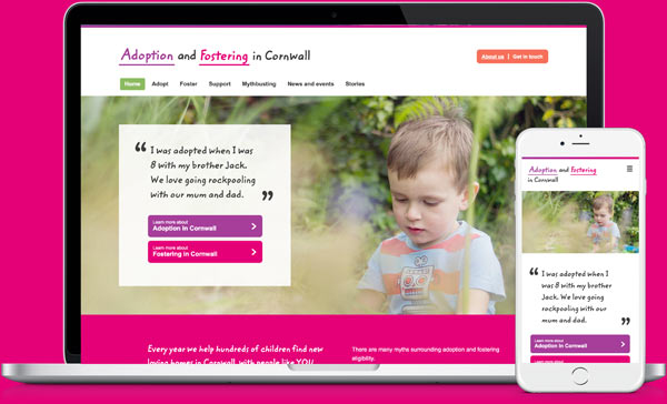 Adopt in cornwall responsive website in computer and iphone