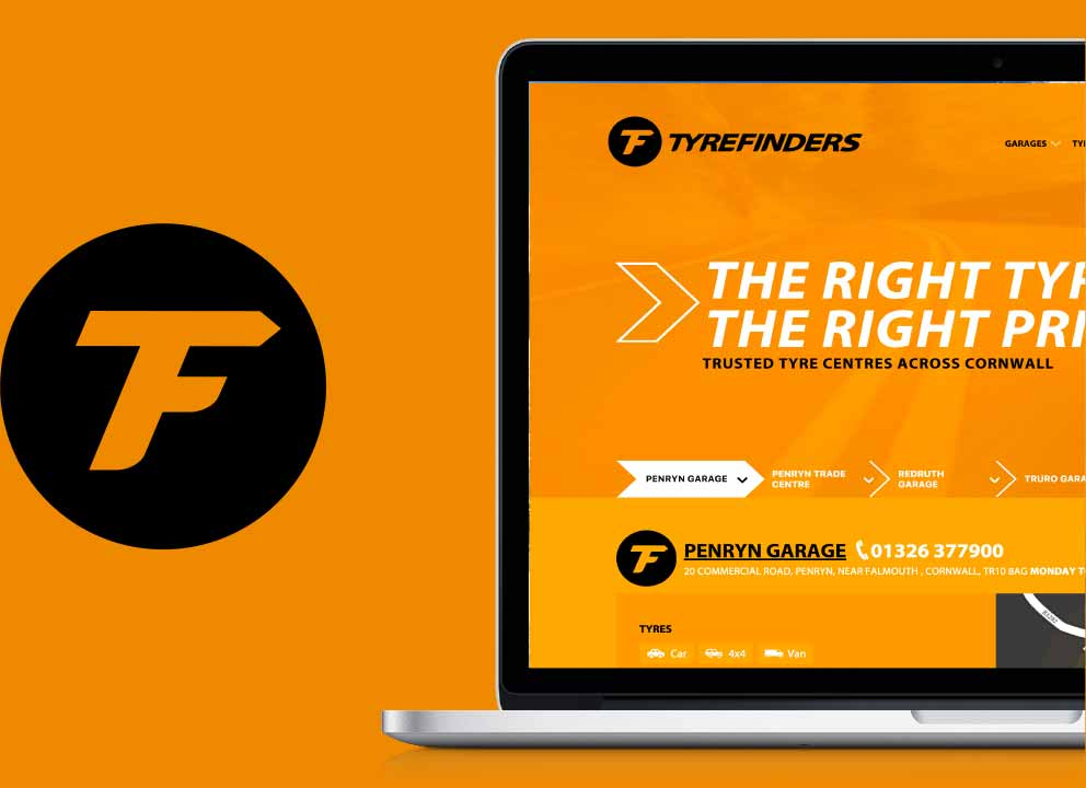 TyreFinders logo and website graphic by Geoff Muskett
