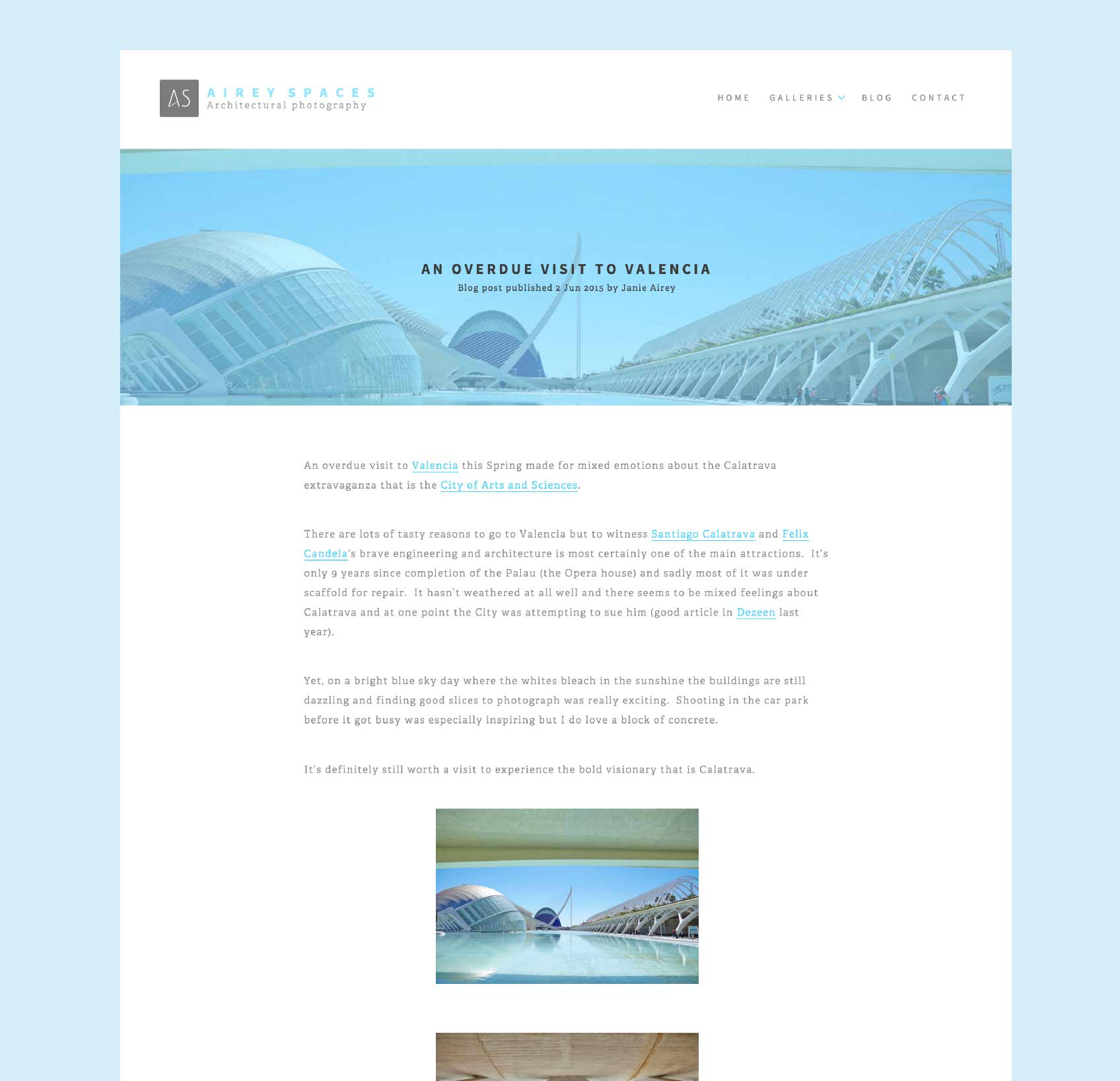 Airey Spaces blog page design by freelancer Geoff Muskett