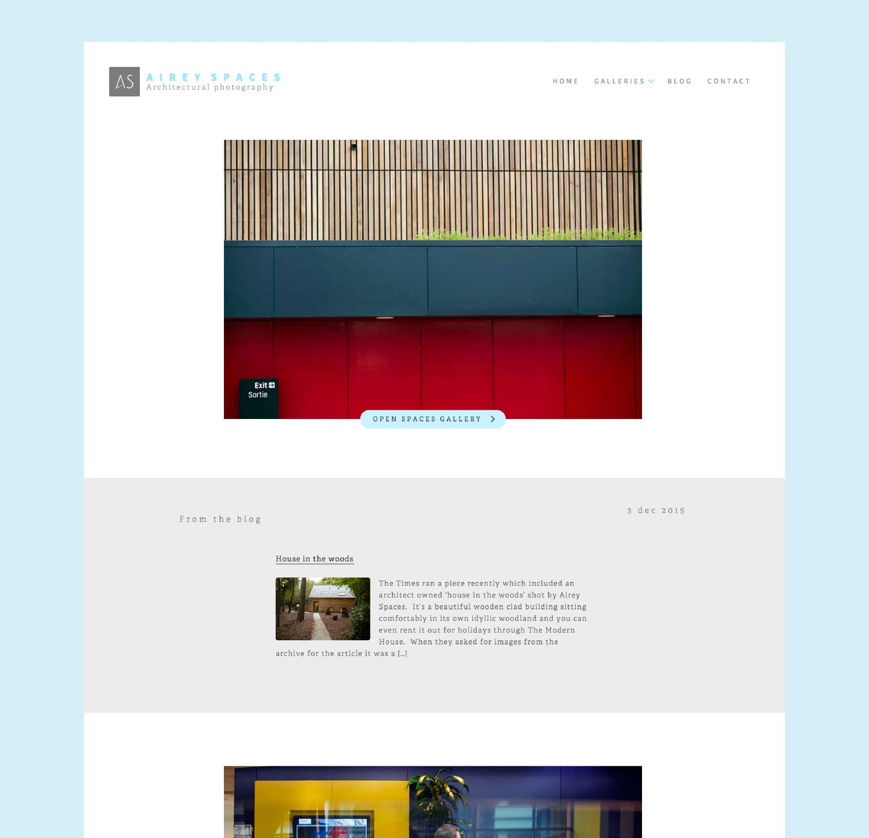 Airey Spaces homepage design by Geoff Muskett