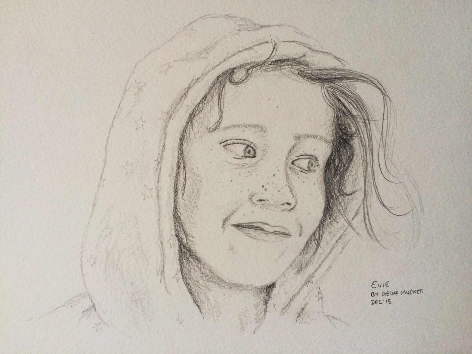 Pencil sketch portrait by Geoff Muskett