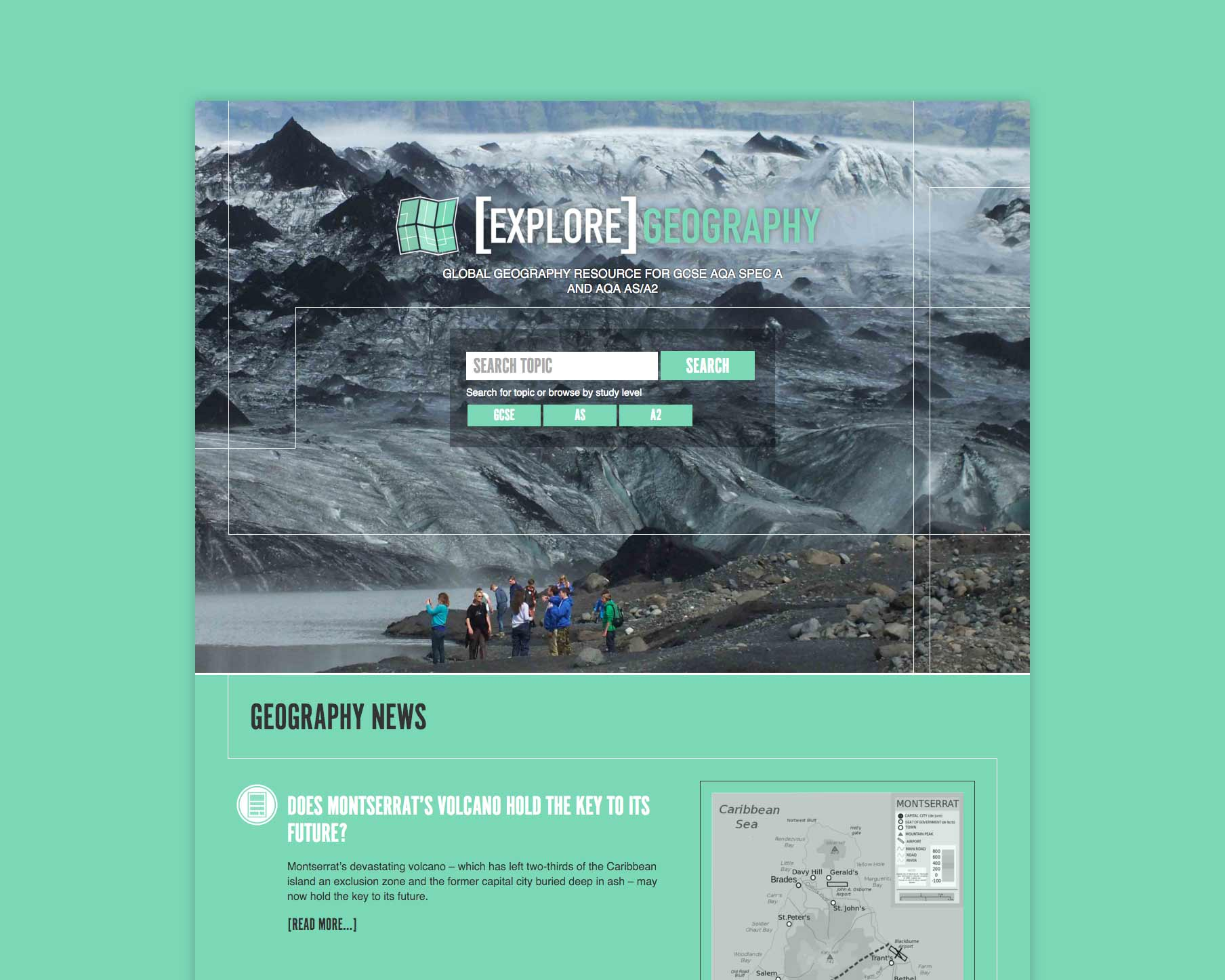 Explore Geography website design by Geoff Muskett