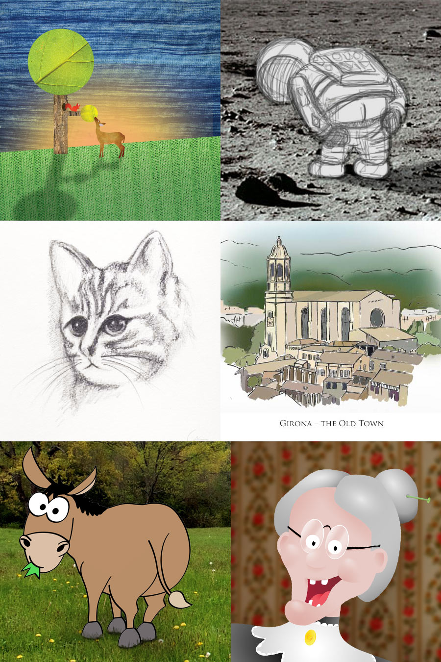 Illustrations including a deer, an astronaut, a cat, Girona, a Donkey, and an old lady