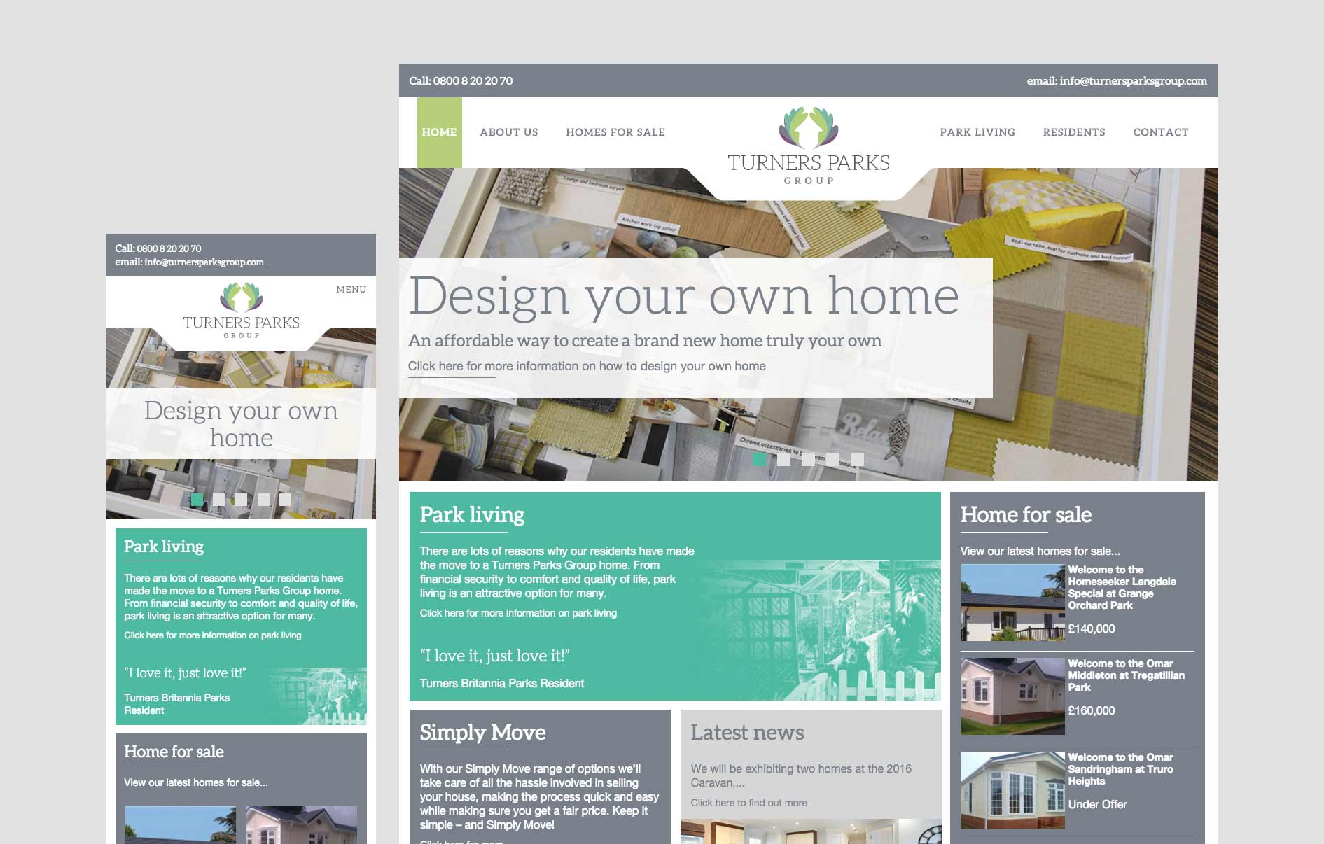 Turners Parks Group responsive website front end build by Geoff Muskett