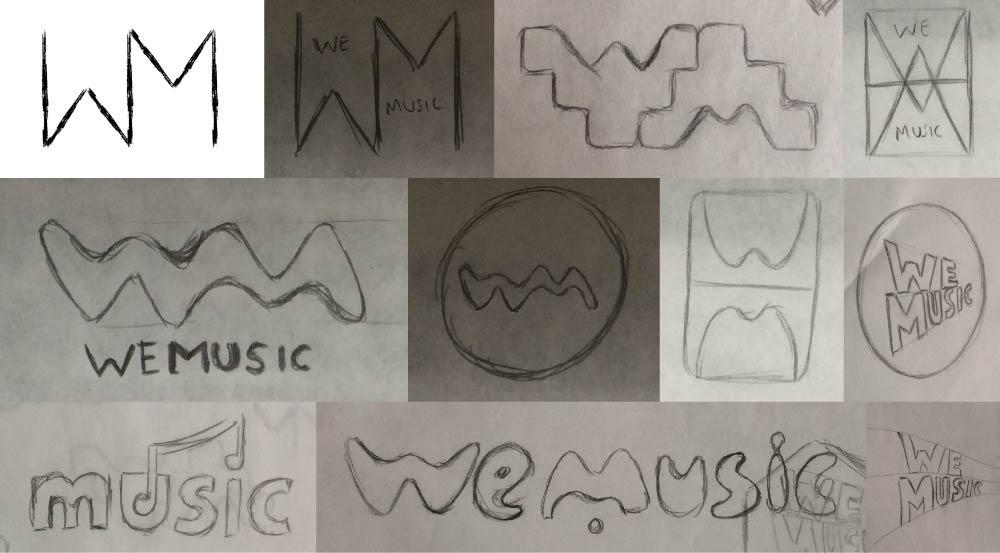 WeMusic sketch logo ideas